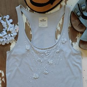 Hollister Frilly Flowers Sequins & Beads Gray Tank